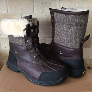 e526dc01672 Details about UGG Butte Stout Waterproof Leather Woolrich Tweed Snow Boots  Size US 9 Mens