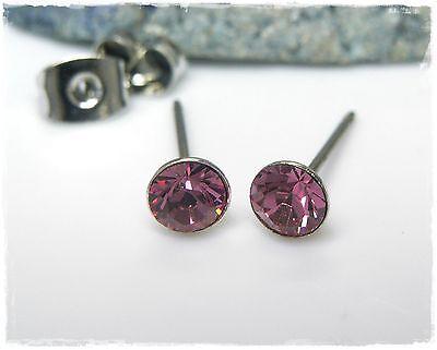 Nuovo Titanio Orecchini A Bottone 4mm Swarovski Pietre In Rosa/rosa Orecchini-mostra Il Titolo Originale Ultima Moda
