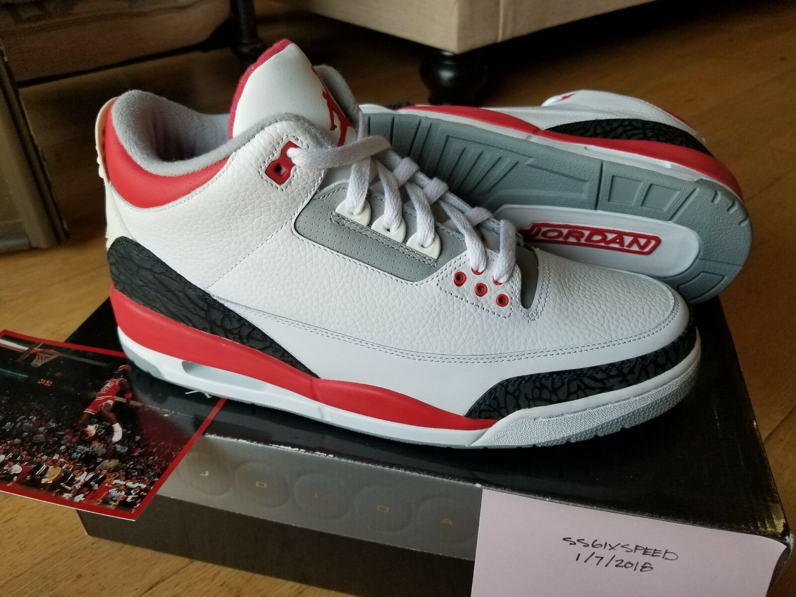 DS 2018 Nike Air Jordan III Fire Red Cement size 12 w/ receipt 3 XI VI IV