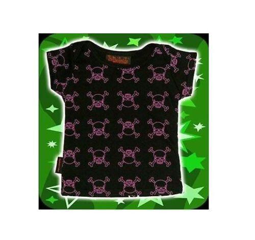DARKSIDE CLOTHING Pink Skulls Black BABY TSHIRT//T-SHIRT//TOP biker//tattoo//rock