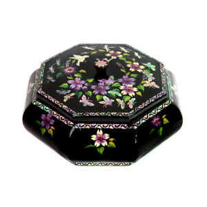 Korean Traditional a Lacquerware Mother of Pearl Jewelry Box Gift