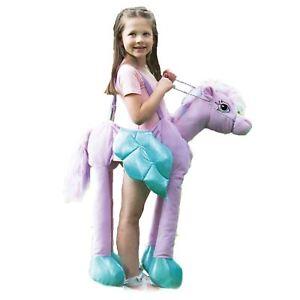 a61dea19791a Kids Girls Purple Ride on Horse Fairytale Pegasus Pony Fancy Dress ...