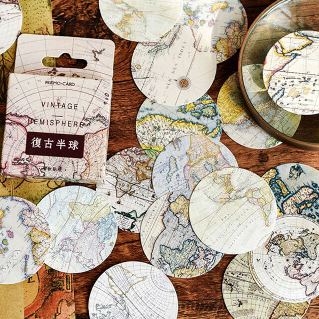 46pcs Vintage Poster Map DIY Diary Stickers Paper Lables Gifts Packaging DR TOHQ