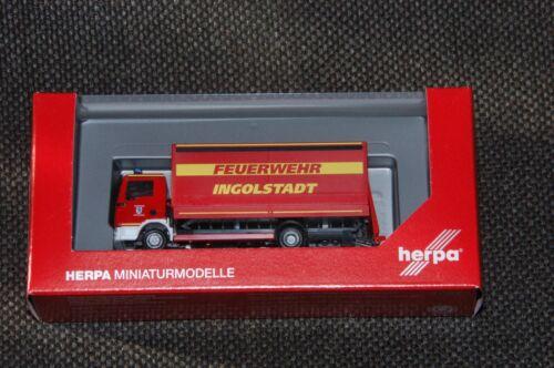 """Herpa 094221 MAN TGL planear-camión con cargador a bordo muro /""""bomberos Ingolstadt/"""""""