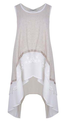 48 Beige l Weiß Mat Fashion Tunika Leinenmix Gr Lagenlook xl 50 Long O7OUR1acq