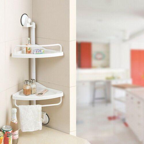 2 Layer Suction Corner Shelf Bath Shower Caddy Towel Rack Bathroom Accessories