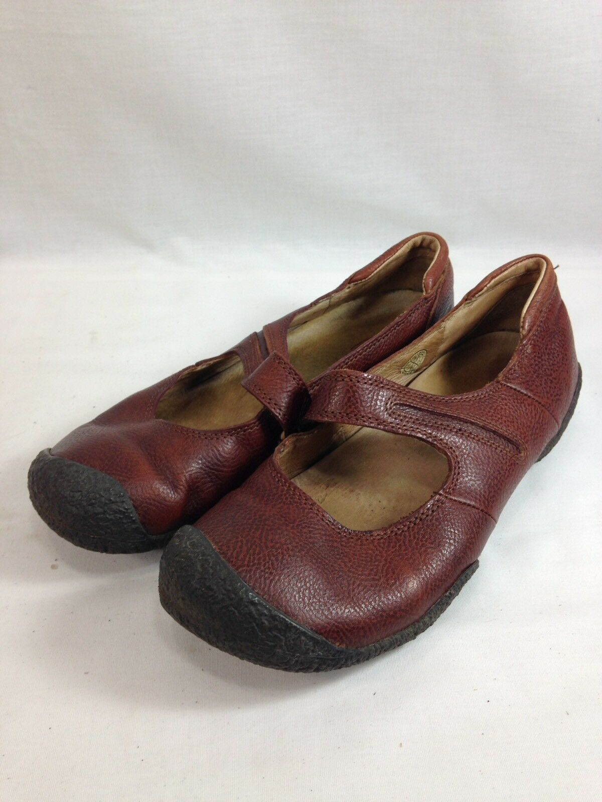 Keen Mary Jane Scarpe Donna 9.5 marrone Pelle Comfort Slip On Flats Casual Dress
