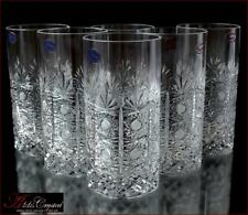"""Bohemian Crystal Water Glasses 16 cm, 300 ml, """"Cold Flowers"""" 6 pc New!"""