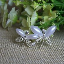 """2"""" WHITE FAUX PEARL DOUBLE DRAGONFLY DIAMANTE RHINESTONE CRYSTAL BROOCH PIN"""