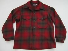Mens Large Pendleton 100% wool button jacket red plaid barn vintage hunting