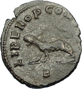 GALLIENUS 267AD Rome Authentic Ancient Roman Coin PANTHER as TALISMAN i65649