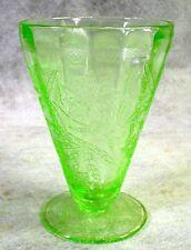 GREEN Depression Glass WATER TUMBLER Jeannette FLORAL Vintage ELEGANT Poinsettia