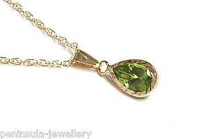 9ct-Gold-Peridot-Teardrop-Pendant-and-Chain-Gift-Boxed-Necklace-Made-in-UK