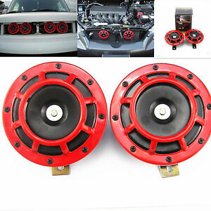 Loud Car Horn >> Details About Car Universal Red Horn Kit Grille Mount Super Tone Loud 12v Compact Electric