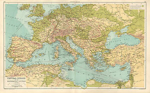 Map Of Spain And Greece.1891 Victorian Map Central Europe Amp Mediterranean Countries
