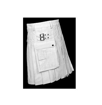 Mens Kilt LARP  Real WHITE Leather Gladiator Pleated Utility