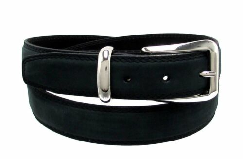 RDumani Men/'s Fashion Belt 30mm Wide Black Genuine Nubuck Leather Up To 40/""