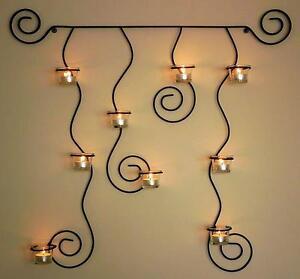 Soporte de pared para velas t lysa negro candelabro metal 74cm portavelas ebay - Soporte para velas ...