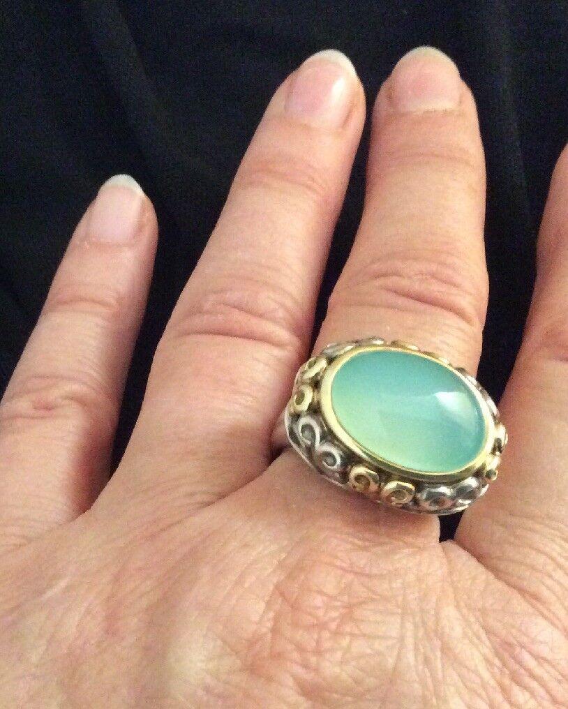 Charles Krypell bluee Chalcedony Ring 18k SS