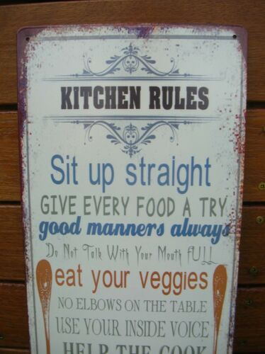 KITCHEN RULES METAL WALL SIGN PLAQUE