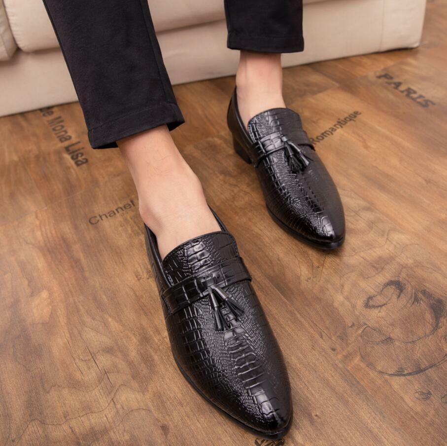 Mens Tassel Alligator Pattern Business Leather Dress Formal shoes Oxfords Loafer