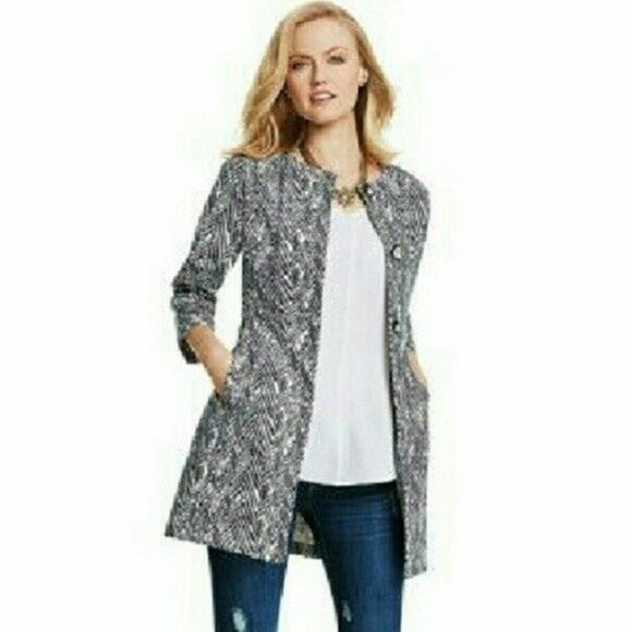 Cabi Zigzag Tunic Jacket SZ Small 3034 Ponte Knit Coat Trench Blazer Career