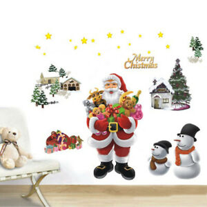 Christmas-Wall-Sticker-Santa-Claus-Style-PVC-Wall-Art-Decals-Mural-DIY-Wallpaper