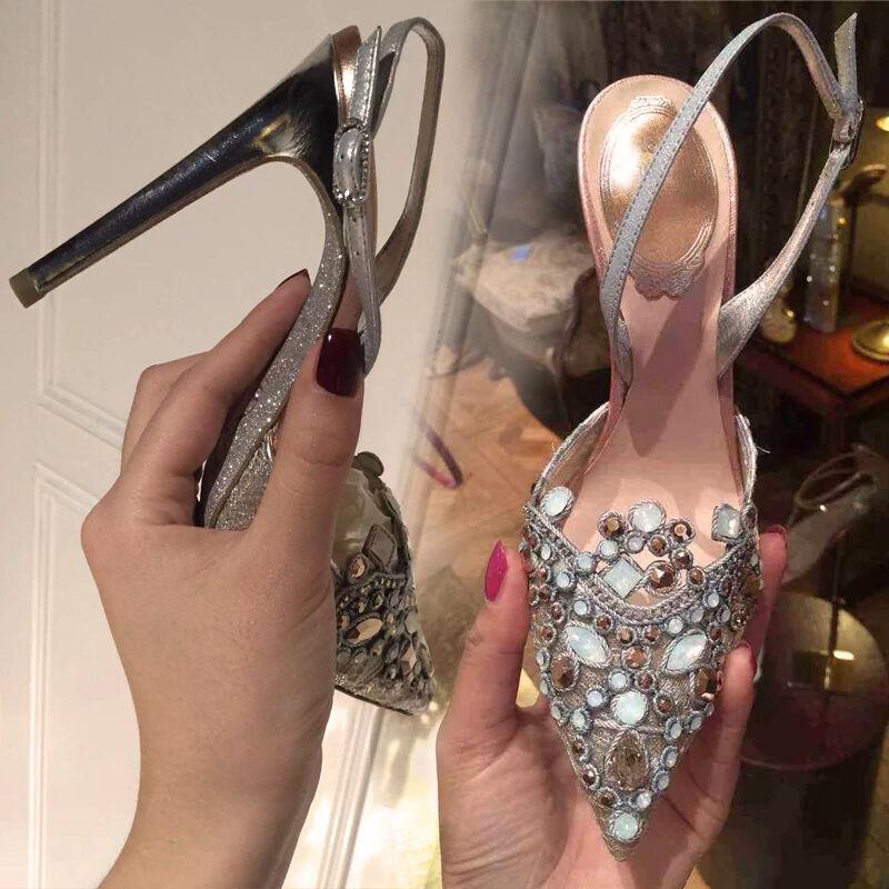 Womens Rhinestones High Heel Pointy Toe Slingback Wedding Ankle Strap Sandal Hot