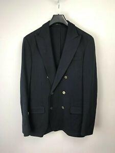 Armani-Collezioni-Mens-Blue-Double-Breasted-Knit-Blazer-Sport-Coat-Jacket-40-50