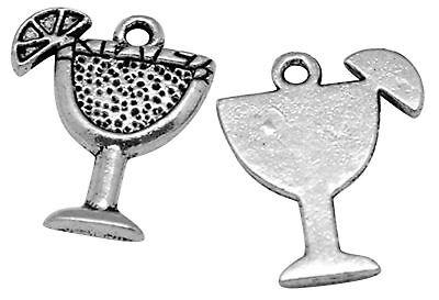 lot de 10 breloques charm pendentif perle scrapbooking coupe verre cocktail NEUF