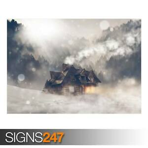MOUNTAIN-WOODS-CABIN-LOG-AD961-NATURE-POSTER-Poster-Print-Art-A0-A1-A2-A3