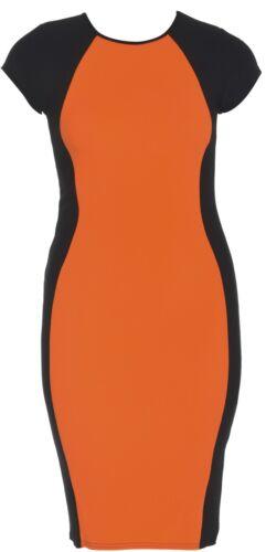 New Womens Plus Size Neon Contrast Color Block Bodycon Midi Dress 16-24