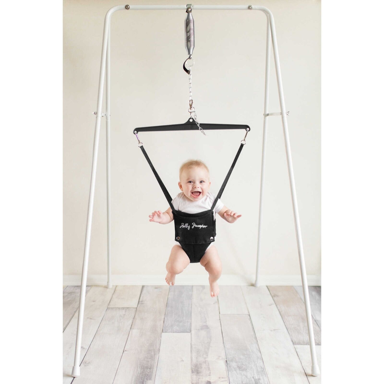 Jolly Jumper Baby Exerciser with Portable Stand in White | eBay