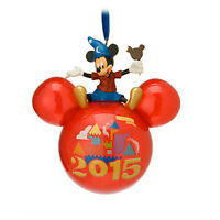 Disney Parks - 2015 Mickey Mouse With Ice Cream Glass Icon Ornament - Disneyland