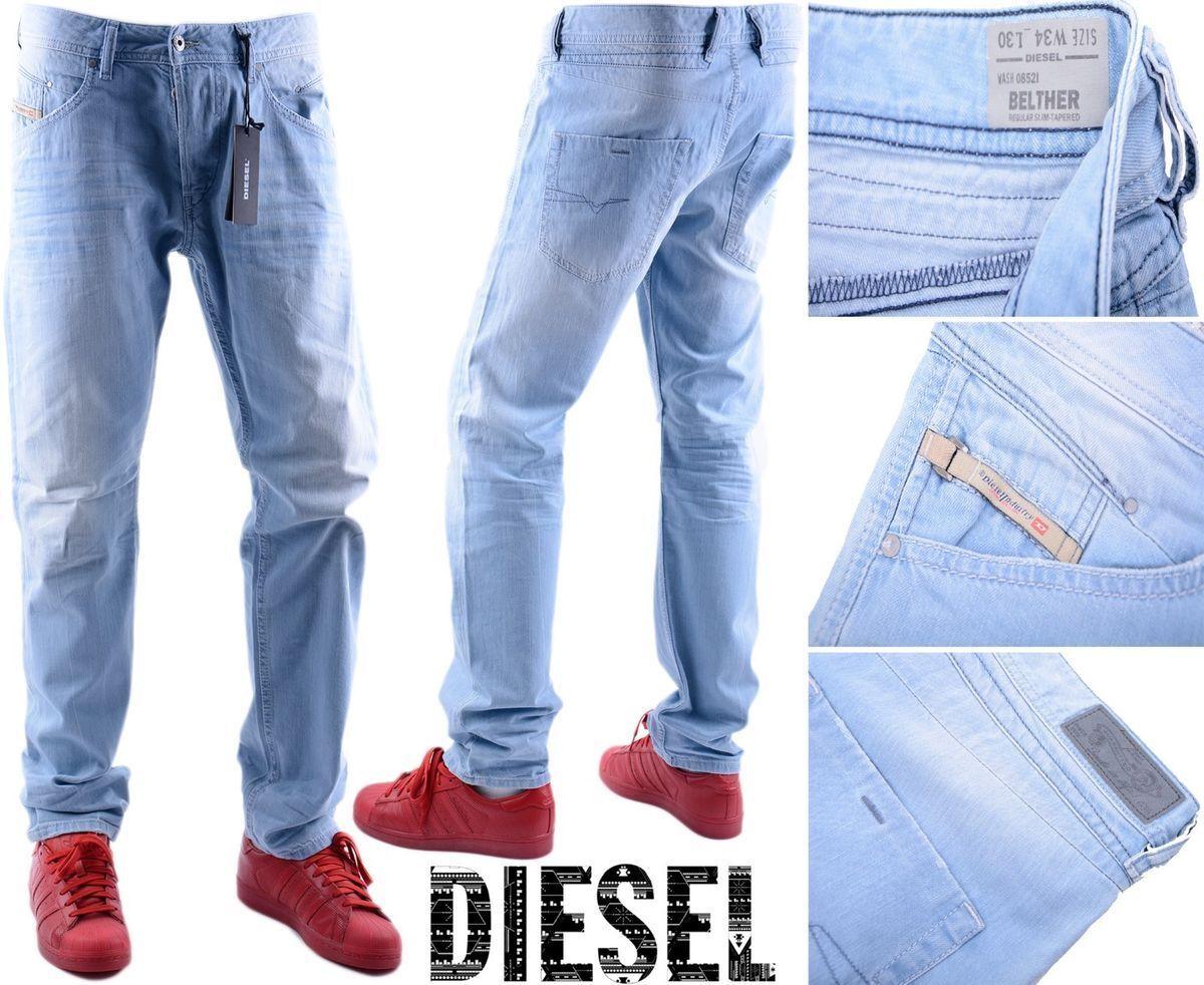 DIESEL Belther 0852I W34 L30 3D EVO Denim Jeans Da Uomo Regular Slim Tapered Leg