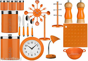 Image Is Loading Orange Kitchen Storage Tea Coffee Sugar Cutlery Set