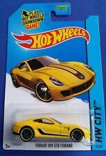 Ferrari 599 GTB Fiorano Yellow #21 * USA CARD * 2015 Hot Wheels * H9