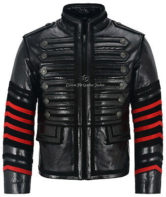 Men/'s Military Black New Smart Casual Vintage Real Cowhide Glazed Leather Jacket