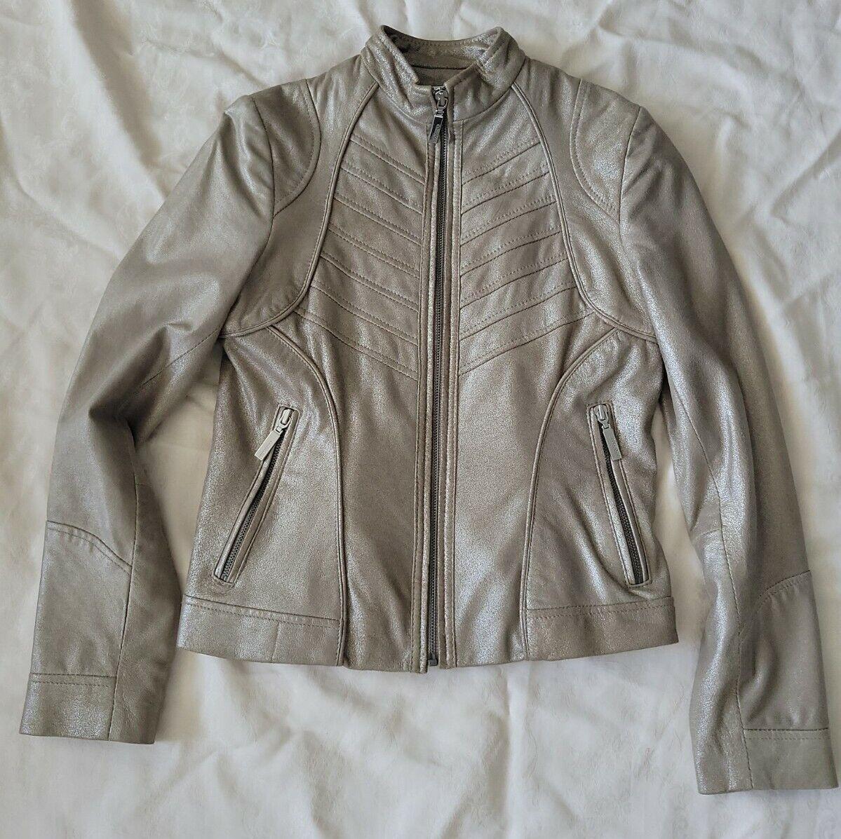 BERNARDO Bronzed Leather Motto Jacket women's petite xs, EUC