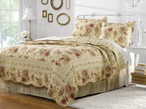 2pc ANTIQUE ROSE Twin Quilt Set Ecru Vintage Cottage Chic Romantic ...