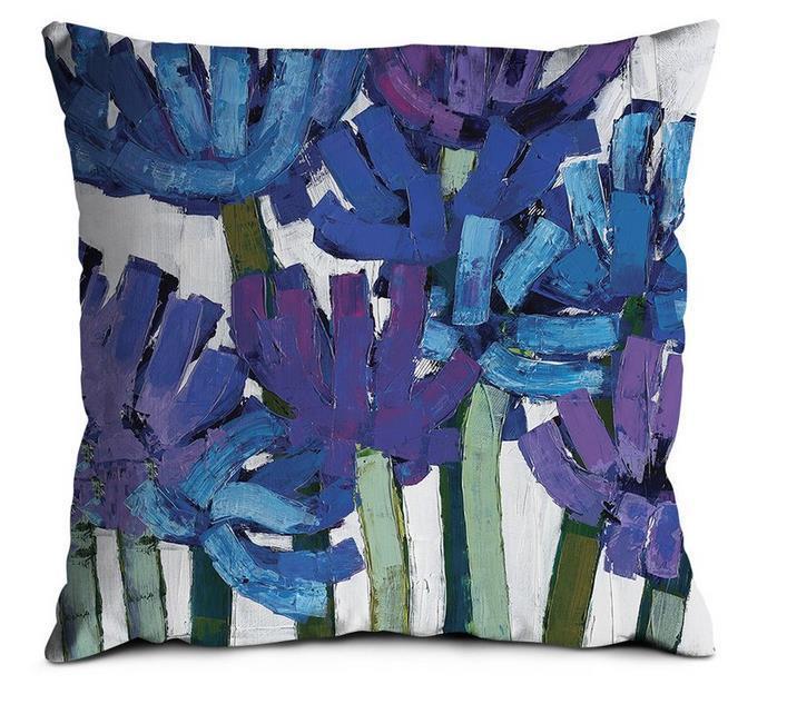 Artista Lane Designer agapanthas Scatter Cuscino Blu verde 45cm H x 45cm W