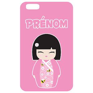 Coque-3-D-Telephone-Personnalisee-Iphone-6-Kokeshi-poupee-japonaise-rose