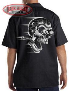 Or Die Biker Cartoon Mechanics Ride Motorcycle Psycho SkullFlames Werkshirt XiOwkZuTP