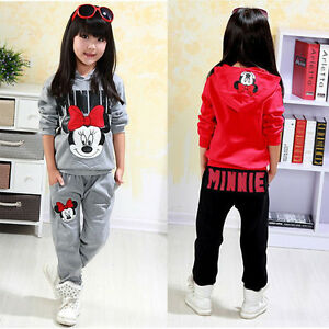 55e72b346 Image is loading 2pcs-Kids-Girls-Minnie-Mouse-Clothes-Hoodie-Joggers-