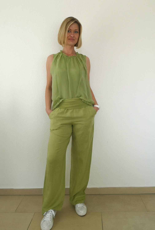 Julia Wang 100 % Leinenhose Sommerhose Viskosebund gerades Bein Hellgrün Gr. M