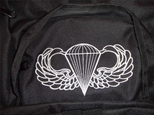 US ARMY AIRBORNE BACKPACK DAY PACK  BOOK COMPUTER BAG  BLACK  EMBROIDERED