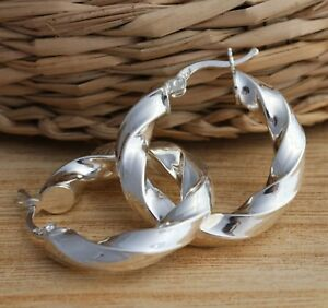 925 Sterling Silver Plain Oval U Shaped Twisted Huggie Hoop Earrings Gift Boxed
