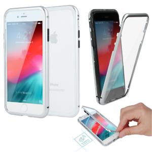 360-MAGNET-GLAS-CASE-Huelle-Aluminium-Vor-Rueckseite-Fuer-Apple-iPhone-X-Silber