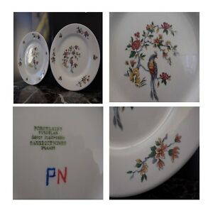 2-Platos-Llanos-Porcelana-Pyroblan-Sarreguemines-Art-Nouveau-Pn-Francia-N128