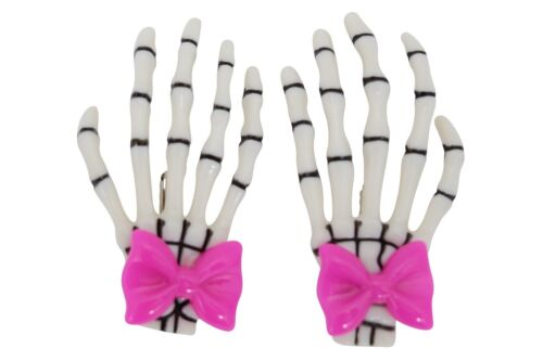 Lost Queen Goth Spooky Cute Skeleton Hands with pink bow Hair Clip set of 2